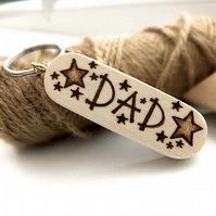 Gift for Dad, Hand Burned Pyrography Wooden Star Keyring