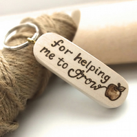 Gift for Teacher, Hand Burned Pyrography Wooden Thank you Apple Keyring