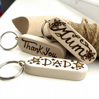 Custom Names Hand Burned Pyrography Wooden Peronalised Keyring