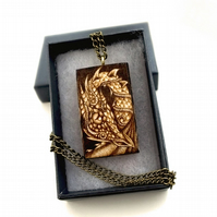 Curious Dragon Pendant, Wood Pyrography Dragon Necklace, Ideal Dragon Lover Gift