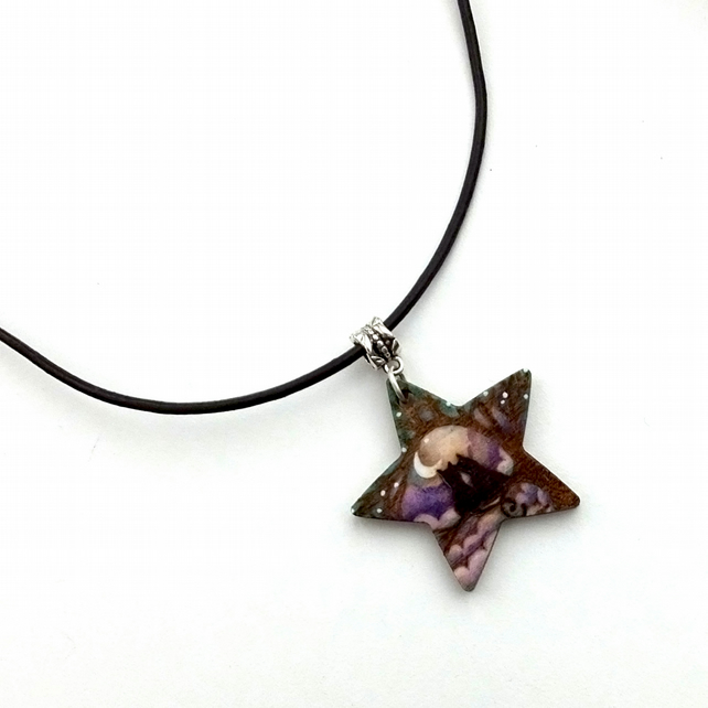 Two Cats at Midnight, Cat Lover Gift, Pyrography Star Pendant Necklace