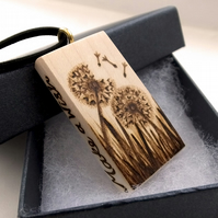 Make a Wish, Dream a Dream, Dandelion Clock Wooden Pyrography Pendant Necklace