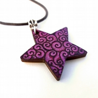 In the Pinks and Purples Swirled Hand Burned and Coloured Pyrography Pendant
