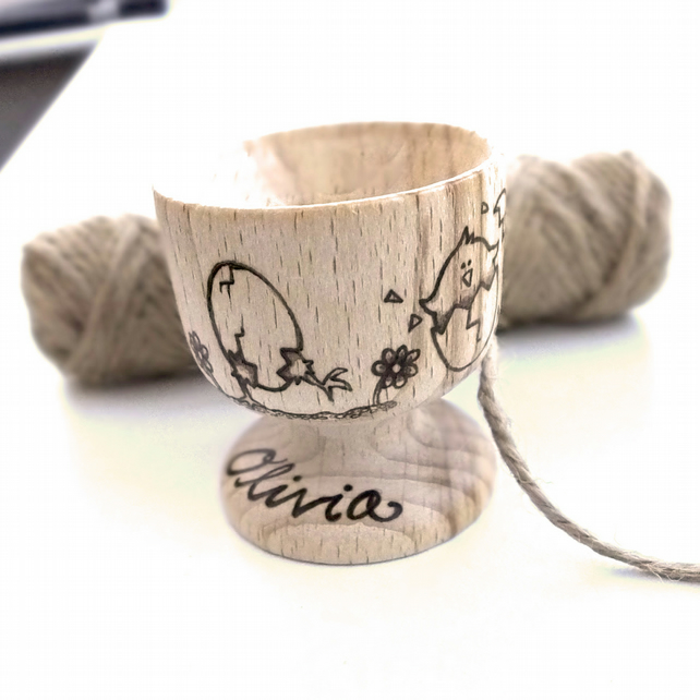 Personalised Wooden Pyrography Egg Cup, Easter gift,  Easter Egg,