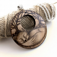 Sleeping Fox Pyrography Wood Pendant Necklace