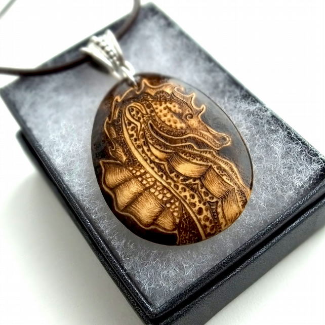 Wooden Seahorse Pyrography Pendant Necklace, Wood Teardrop, Sealife Lover