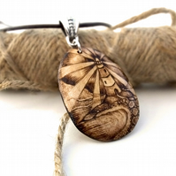 Coastal Lighthouse Pyrography Pendant Necklace, Wood Teardrop, Beach Lover