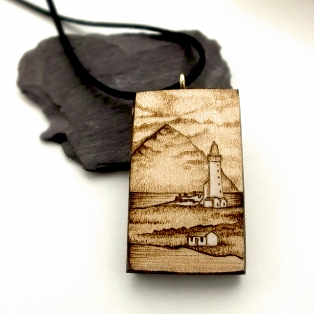 Beacon of Light, Wooden Pyrography Lighthouse Pendant Necklace Pladda