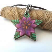 Tropical Flower Blossom Burned and Coloured Pyrography Pendant Necklace