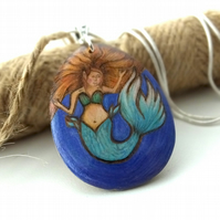 Auburn Mermaid Pyrography Pendant Necklace, Wood Teardrop, Sea Lover