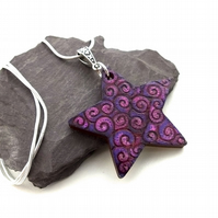 Pink and Purple Boho Hand Burned and Coloured Pyrography Pendant