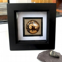 Siblings Tree Climbing Days Wooden Pyrography Miniature Art Box Frame Friends