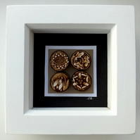 Seasons in Nature Pyrography Miniature Art Box Frame Spring Summer Autumn Winter