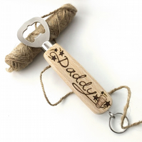 Wooden Bottle Opener, Personalised with Pyrography, Beer Design For Dad, Daddy