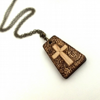 Pyrography patterned Crucifix. Christian Cross. Wooden pendant, faith necklace
