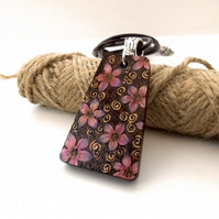 Pyrography Sakura Blossom Wooden Pendant, subtle pInk and purple.