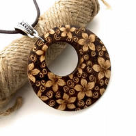 Gorgeous Floral Blossom Unusual Wooden Pyrography Pendant Necklace
