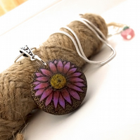 Tiny Flower Pyrography Pendant, Miniature wooden necklace for a garden lover