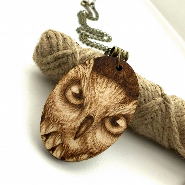 I see you, pyrography owl pendant. Wooden Necklace with owl's eyes.