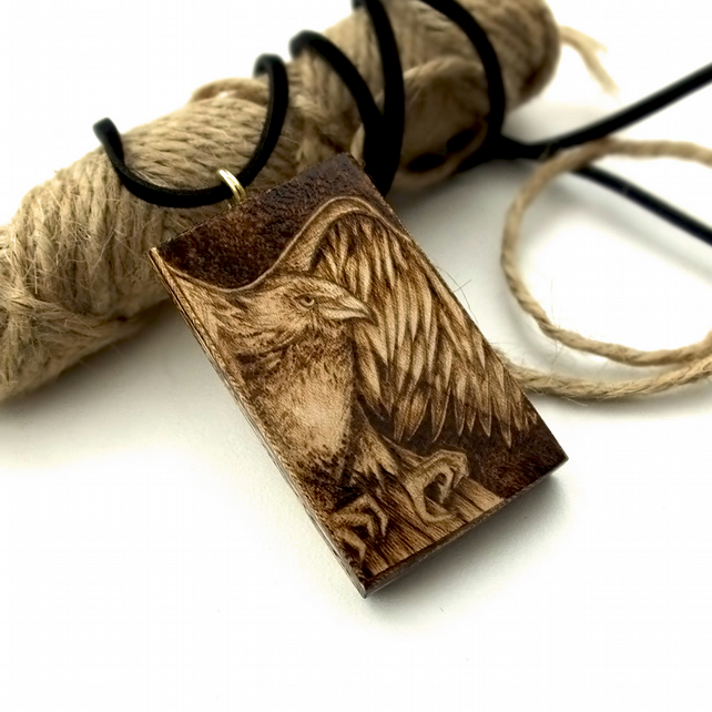 Golden Eagle in flight, pyrography chunky sycamore wood pendant.