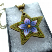 Purple Periwinkle Star, Pyrography with Colour Wooden Pendant and Necklace