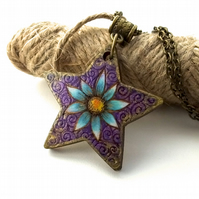 Blue Flower with Gold Accents Pyrography with Colour Wooden Pendant and Necklace