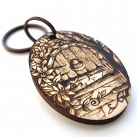 Elvish Fairy Door Pyrography Personalised Wooden Keyring