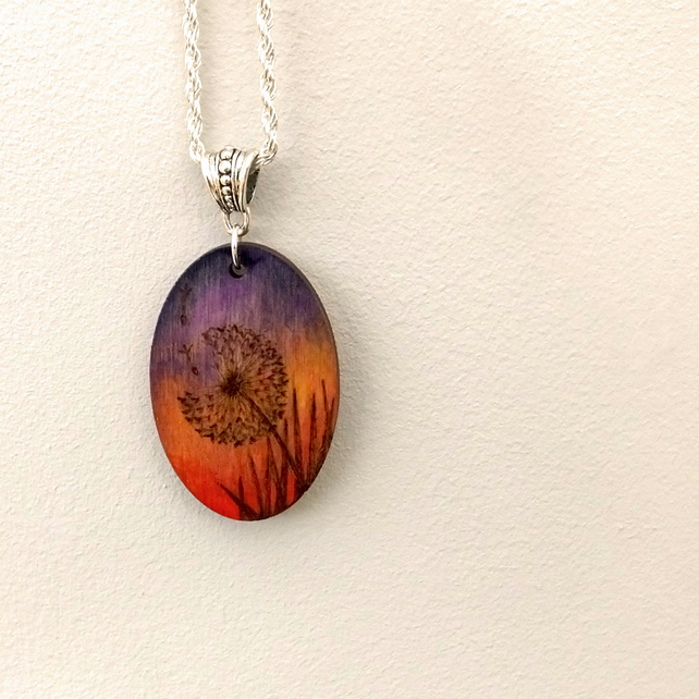 Sunset pyrography dandelion clock, oval wood pendant necklace