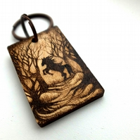 Woodland horse silhouette pyrography keyring, ready for personalisation.
