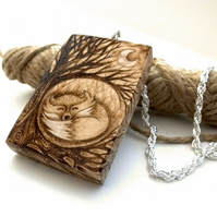 Beautiful Curled Fox in Woodland Sycamore Pyrography Pendant Necklace