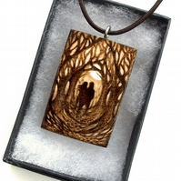 Romantic couple Pendant. Pyrography silhouette in forest necklace in sycamore.