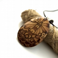 Striking lighthouse shining pyrography pendant necklace