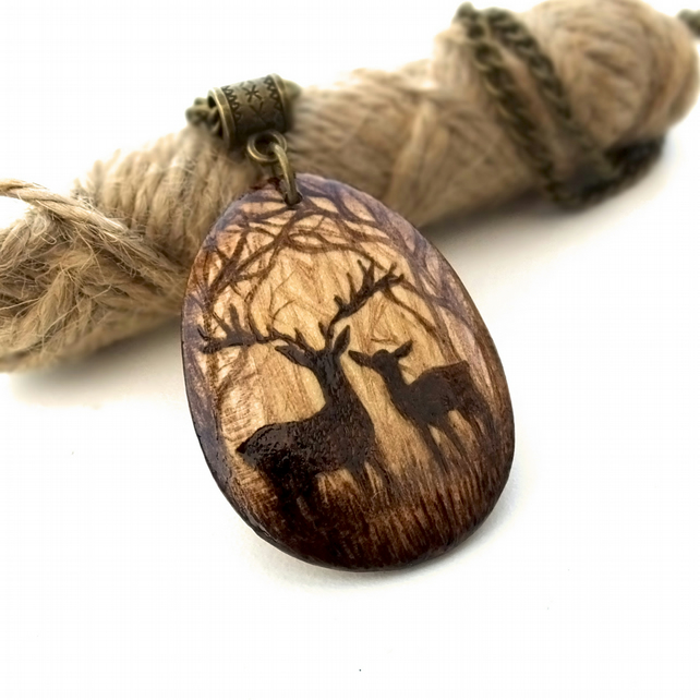Stag and deer couple in the forest, pyrography pendant necklace