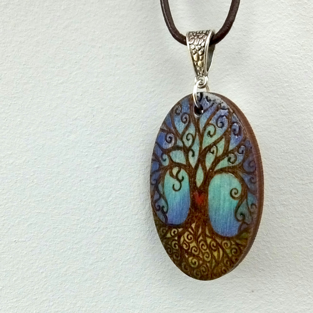 Family tree pyrography with colour wooden pendant. Tree of life necklace.