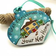 First Christmas in your new home. Pyrography personalised wooden bauble.