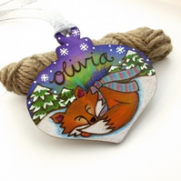 Personalised fox pyrography with aurora, Christmas bauble shape tree decoration