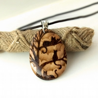 Cat Nap for Three Cats, Silhouette of Cats in Tree, Pyrography Pendant Necklace
