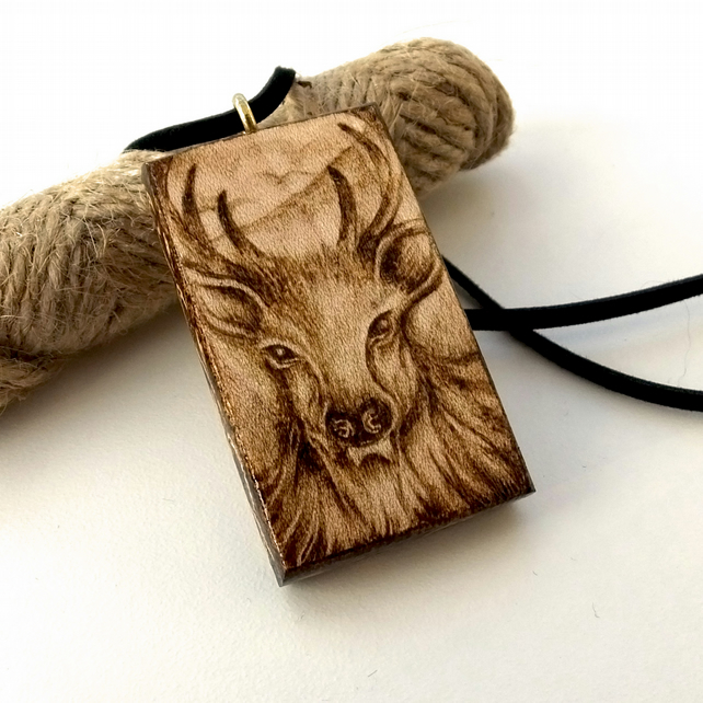 Majestic Stag Pendant, Wood Pyrography Deer Necklace, Ideal Nature Lover Gift