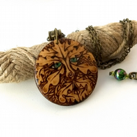Greenman Amongst the Oak Leaves Wooden Pyrography Unisex Pendant Necklace