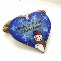 Baby's First Christmas wooden pyrography heart decoration. Original art.