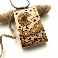 Make a Wish, Dream a Dream, Large Wooden Dandelion Clock, Pyrography Pendant