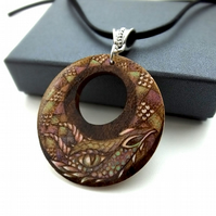 Dark rainbow dragon necklace. Wooden pyrography dragon pendant.