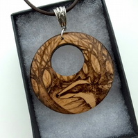 Beautiful badger pendant. Circular wooden pyrography pendant. British wildlife