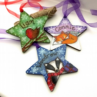 1x Star shaped personalised wooden wildlife pyrography Christmas decoration