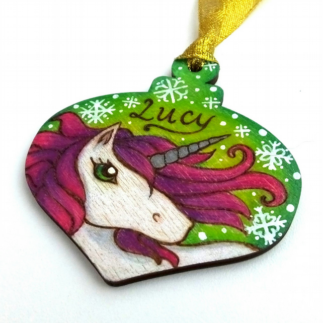Custom Unicorn Pyrography Wooden Personalised Christmas Bauble