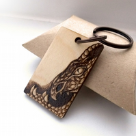 The majestic dragon, personalised pyrography wooden keyring.