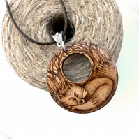 Sleepy fox in the forest pendant. Wooden pyrography necklace. British wildlife.