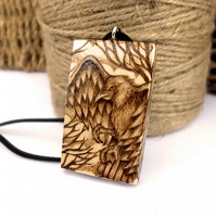 Watchful eagle, chunky wooden pyrography pendant, Wildlife lover gift