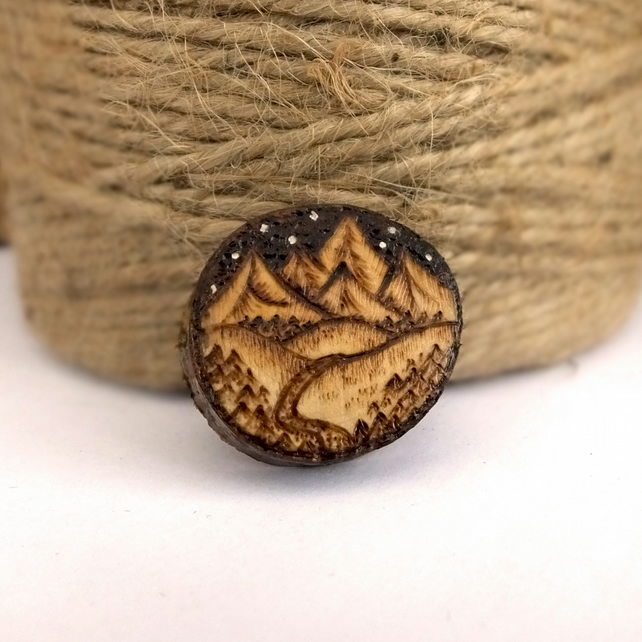 Night in the mountains, wooden tree slice pyrography brooch. Rustic branch pin.