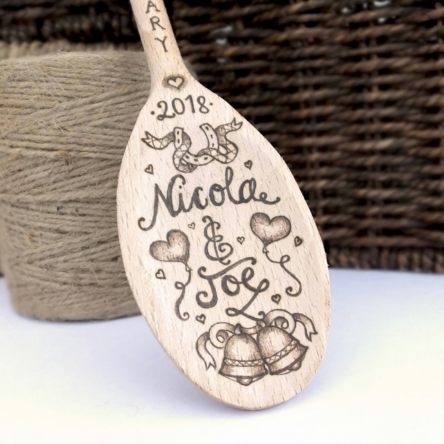 Wedding Spoon Personalised using Pyrography Anniversary Couple Mr and Mrs
